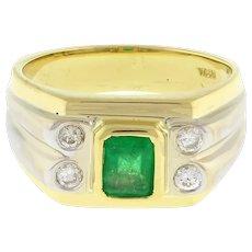 Estate Emerald Diamond 18K Two-Tone Gold Dress Ring 1.10 CTW Size 7.5 Unisex
