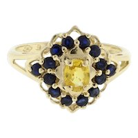 Vintage Yellow Topaz Sapphire Accent Cocktail Ring 1.75 CTW 14K Yellow Gold SZ 6
