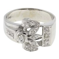 Estate Diamond Floral Statement Ring 14K White Gold 0.40 CTW Rounds Ladies 8.25