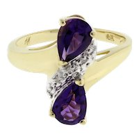 Estate Pear Amethyst Diamond Crossover Ring 14K Yellow Gold 1.35 CTW Ladies 6.25