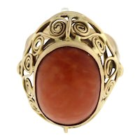 14K Yellow Gold Vintage Coral Solitaire Statement Ring Oval Gem Ladies Size 8.75