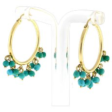 "Vintage Turquoise Beaded Hoop Earrings 14K Yellow Gold 1.25"" Round 2 mm"