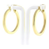 """Estate 14K Yellow Gold Hoop Earrings 1.25"""" Round 3 mm Thick Ladies Snap Closure"""