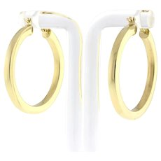 "Estate 14K Yellow Gold Hoop Earrings 1.25"" Round 3 mm Thick Ladies Snap Closure"