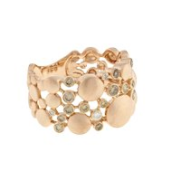 Estate 14K Brushed Rose Gold Diamond Wide Band Ring 0.47 CTW Scattered Diamonds