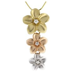 Estate 3-Color 14K Gold Flower Pendant 0.19 CTW Diamonds Ladies Snake Chain 16""