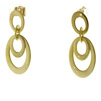 Estate 14K Brushed Yellow Gold Oval Drop Dangle Earrings 0.16 TW Diamond Accents
