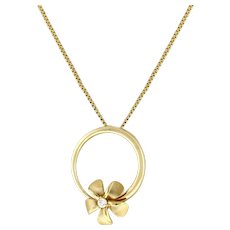 Estate Flower Circle Pendant 14K Brushed Yellow Gold 0.10 CTW Diamond Accent