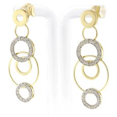 Estate Circle Link Diamond Drop Dangle Earrings 14K Yellow Gold 1.00 CTW Ladies