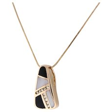 Estate Mother of Pearl Onyx Diamond Pendant 14K Rose Gold Snake Chain 16""