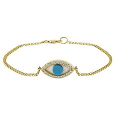 Estate Evil Eye Diamond Mother of Pearl Chain Bracelet 14K Yellow Gold 6.75""