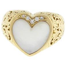 Designer Kabana Heart Mother of Pearl Ring 0.11 CTW Diamond Accents Ladies SZ 6