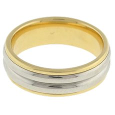 Estate Wedding Anniversary Band Ring 18K Yellow Gold Platinum Overlay Unisex