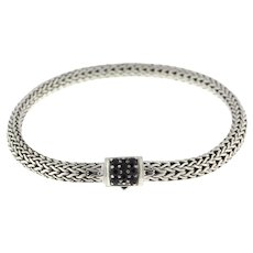 John Hardy Classic Chain Bracelet with Black Sapphire Sterling Silver Unisex 7""