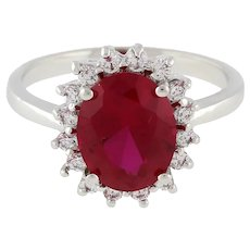 Estate Solitaire Ruby Gemstone CZ Accent Ring 14K White Gold Princess Di Size 7