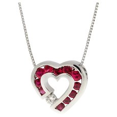 "Ruby Diamond Heart Pendant Necklace 14K White Gold Box Chain 17"" 0.51 TW"