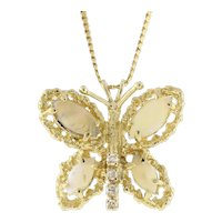 Vintage Opal Diamond Butterfly Pendant 14k Yellow Gold 1.98 CTW Gemstones Estate