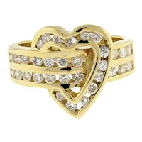 Estate Heart Diamond Crossover Ring 14K Yellow Gold 0.75 CTW Rounds Channel Set