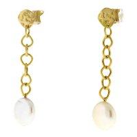 "Yvel White Coin Pearl Dangle Earrings 18K Yellow Gold Ladies 2"" Dangle"