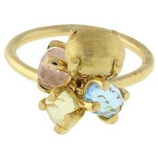Nanis Bonbon Multi-Gemstone Ring 18K Yellow Gold Quartz Blue Topaz Citrine 5.75