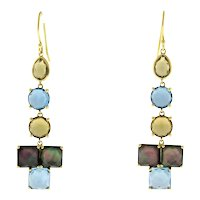 Ippolita Hanging Rock Candy Drop Dangle Earrings 18K Yellow Gold Estate Ladies