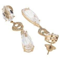 "Estate 18K Rose Gold Colorless Quartz Diamond Drop Dangle Earrings Ladies 2"""
