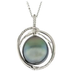 Estate Tahitian South Sea Pearl Diamond Pendant 18K White Gold Ladies 1.25""