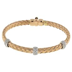 "Estate 14K Rose Gold Woven Silk Basket Weave Diamond Bangle Bracelet Ladies 7"""