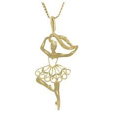 "Vintage Ballerina Charm Pendant 14K Yellow Gold 1.5"" Ladies Girls"