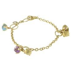 "Nanis Bonbon Multi-Gemstone 18 Karat Yellow Gold Charm Bracelet Ladies 7.5"""