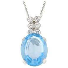 "Estate Blue Topaz Diamond Accent Pendant 14K White Gold 12.40 CTW Gemstones 1"""