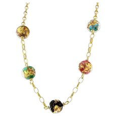 """Estate Acrylic Colored Beads 14K Yellow Gold Chain Necklace Gold Flecks 17"""""""