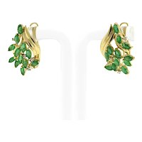 Estate Marquise Emerald Diamond Latch Back Earrings 14K Yellow Gold 2.24 CTW