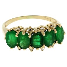 Estate Emerald Diamond 5-Stone Ring 14K Yellow Gold 2.68 CTW Gems Ladies Size 7