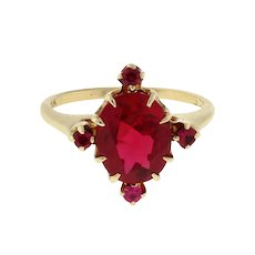 Vintage Ruby Solitaire Accented Gemstone Ring 10K Yellow Gold Ladies Size 6