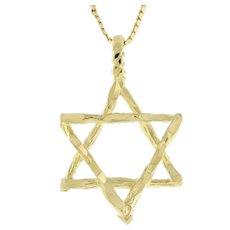 "Religious Estate Star Of David Pendant 14K Yellow Gold 1.25"" Unisex"