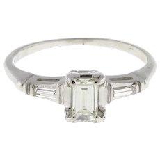 Estate Emerald Cut Diamond Solitaire Baguette Accents Engagement Ring 18K W/Gold
