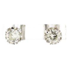 Estate Diamond Stud Earrings 14K White Gold 0.80 CTW Rounds 4-Prong Screw Backs