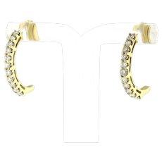 Estate Diamond J Hoop Half Hoop Earrings 14K Yellow Gold 1.00 CTW Ladies 20 mm