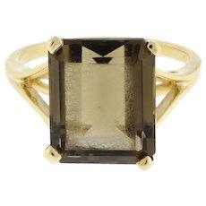 Vintage Emerald Cut Smoky Quartz Gemstone Statement Ring 14K Yellow Gold SZ 6.25