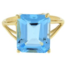 Vintage Emerald Cut Blue Topaz Gemstone Statement Ring 14K Yellow Gold Size 6.5