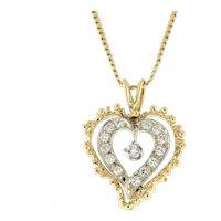 "Vintage Open Heart Diamond Pendant 14K Two-Tone Gold 0.50 CTW Diamonds 1"""