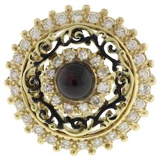 Vintage Garnet Diamond Statement Ring 14K Yellow Gold 2.40 CTW Cabochon Gem 5.25