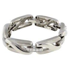 """Estate Marlene Stowe Diamond Bracelet 18K White Gold 3.00 CTW GH/VS Fold-Over 7"""""""
