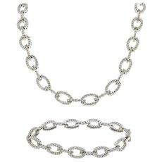 Estate Diamond Oval Link Necklace & Bracelet Set 14K White Gold 7.90 CTW Ladies