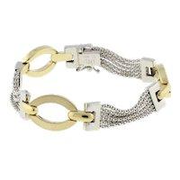 "Estate 14K Two-Tone Gold Bracelet Oval Specialty Multi-Chain Link 7.5"""