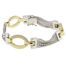 Estate 14K Two-Tone Gold Bracelet Oval Specialty Multi-Chain Link 7.5""