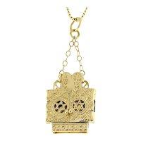 "Religious Jewish Ark with Torah Scroll Charm Pendant 14K Yellow Gold 1.5"" Unisex"