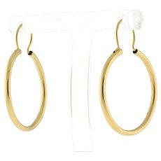 Vintage Hoop Earrings 18K Yellow Gold 36 mm Drop 2 mm Wide Unisex