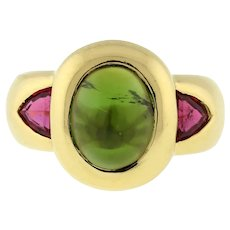 Estate Green Tourmaline Cabochon Gemstone Ring 18K Yellow Gold Red Accents Bezel